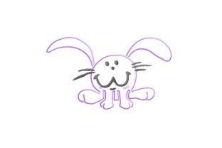Print on Demand: Smiling Bunny Contour Animals Embroidery Design By Dizzy Embroidery Designs
