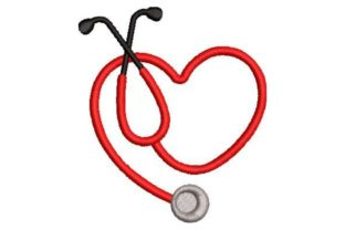 Stethoscope Heart Work & Occupation Embroidery Design By Embroidery Designs