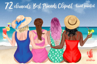Print on Demand: Summer Girls Clipart Beach Clipart Graphic Illustrations By LeCoqDesign