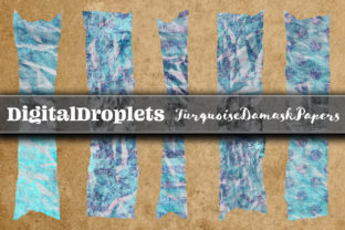 Turquoise Damask | 180 Washi Tapes Graphic Objects By FlyingMonkies