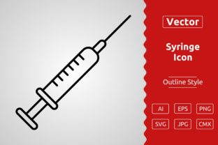 Print on Demand: Vector Syringe Outline Icon Design Graphic Icons By Muhammad Atiq