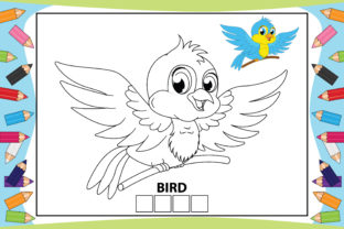 Print on Demand: Coloring Bird Cartoon for Kids Graphic Coloring Pages & Books Kids By curutdesign