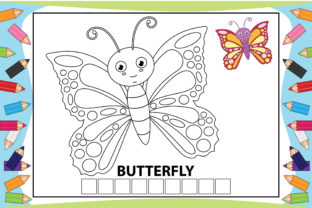 Print on Demand: Coloring Butterfly Cartoon for Kids Graphic Coloring Pages & Books Kids By curutdesign