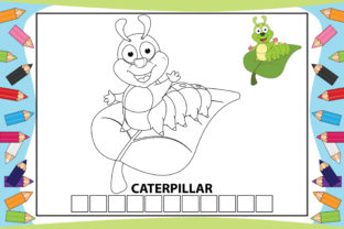 Print on Demand: Coloring Caterpillar Cartoon for Kids Graphic Coloring Pages & Books Kids By curutdesign