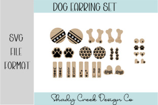 16 Par of Dog Paw Earrings Graphic 3D SVG By Shady Creek Design Company