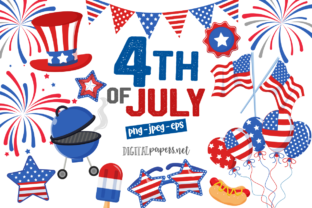 Print on Demand: 4th of July Clipart Set Graphic Illustrations By DigitalPapers
