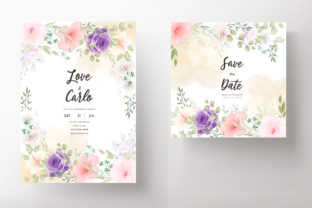 Beautiful Soft Floral Invitation Card Graphic Print Templates By dinomikael01