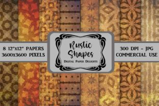 Print on Demand: Brown Rustic Shapes Digital Paper Graphic Backgrounds By digitalpaperdelights