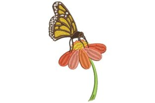 Butterfly on Flower Bugs & Insects Embroidery Design By Embroidery Designs