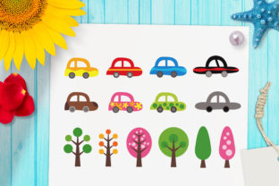 Print on Demand: Cars and Trees Clipart Graphic Illustrations By Revidevi