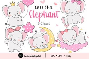 Cute Girl Elephant Clipart Graphic Illustrations By CatAndMe