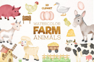 Print on Demand: Cute Watercolor Farm Animals Clipart Graphic Illustrations By Kristy Coloring