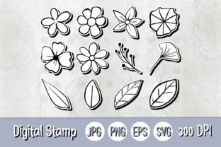 Print on Demand: Digital Stamp   12 Flowers Leaves B Graphic Illustrations By 18CC