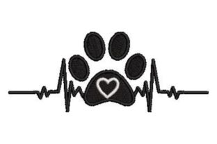 Dog Paw with Heart Beat Dogs Embroidery Design By Embroidery Designs