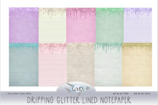 Print on Demand: Dripping Glitter Lined Notepaper Graphic KDP Interiors By CapeAirForce