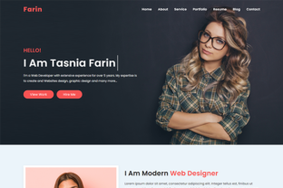 Print on Demand: Farin Personal Portfolio Template Graphic Landing Page Templates By Themeplaza