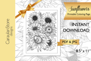 Floral Coloring Page, Sunflower Coloring