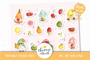 Print on Demand: Fruit Gnomes Printable Stickers Graphic Illustrations By Chonnieartwork