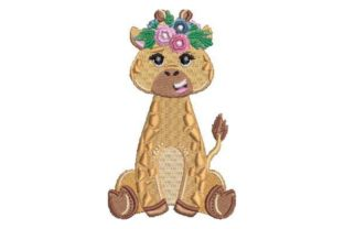 Giraffe with Flower Crown Baby Animals Embroidery Design By Embroidery Designs