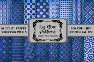 Print on Demand: Icy Blue Patterns Digital Paper Graphic Backgrounds By digitalpaperdelights