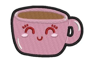 Kawaii Style Coffee Cup Tea & Coffee Embroidery Design By Embroidery Designs