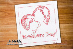 Mother's Day Love Heart Mother's Day Embroidery Design By Redwork101