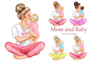 Mother's Day Clipart. Mother Boy Girl Graphic Add-ons By EvArtPrint