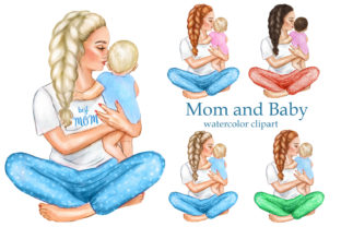Mother's Day Clipart, Son Daughter Mom Graphic Add-ons By EvArtPrint