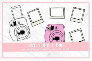 Print on Demand: Pink Polaroid Camera Photo Frames Doodle Graphic Illustrations By thecouturekitten