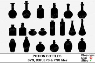 Potion Bottle Silhouettes Graphic Crafts By BlossomsDigiShop