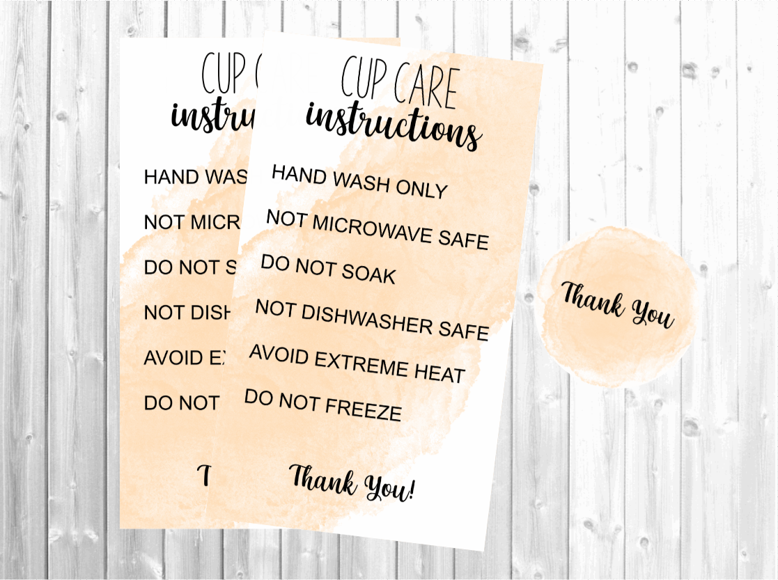 Printable Cup Care Card - Instructions SVG File