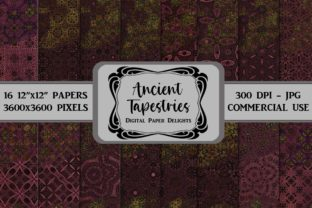 Print on Demand: Purple and Gold Tapestries Digital Paper Graphic Backgrounds By digitalpaperdelights
