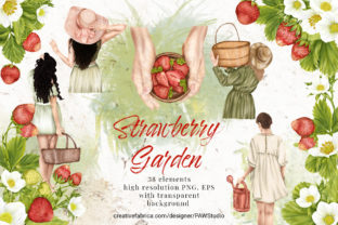 Print on Demand: Summer Strawberry Clipart Girls Garden Graphic Illustrations By PawStudio