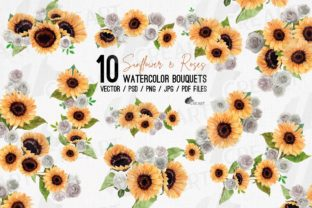 Print on Demand: Sunflower and White Rose Design Bouquets Graphic Product Mockups By CreartGraphics