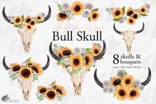 Print on Demand: Sunflowers & White Roses Bull Skull Art Graphic Print Templates By CreartGraphics