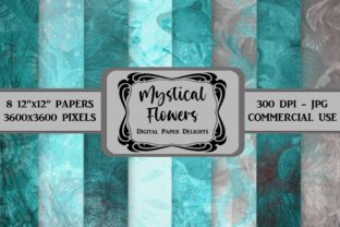 Print on Demand: Teal Mystical Flowers Digital Paper Graphic Backgrounds By digitalpaperdelights
