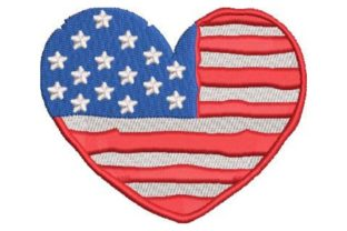 US Heart Independence Day Embroidery Design By Embroidery Designs
