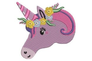 Unicorn with Flower Crown Fairy Tales Embroidery Design By Embroidery Designs