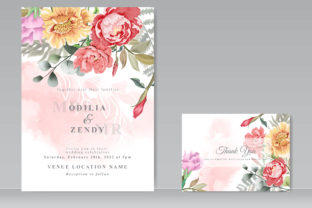 Wedding Card Set Floral Hand Drawn Graphic Print Templates By Agnetart