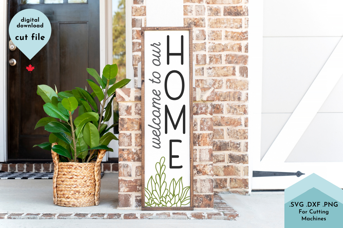 Welcome to Our Home Succulent Vertical SVG File