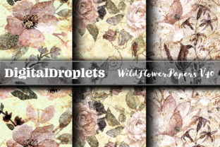 Wild Flowers Papers Graphic Backgrounds By FlyingMonkies