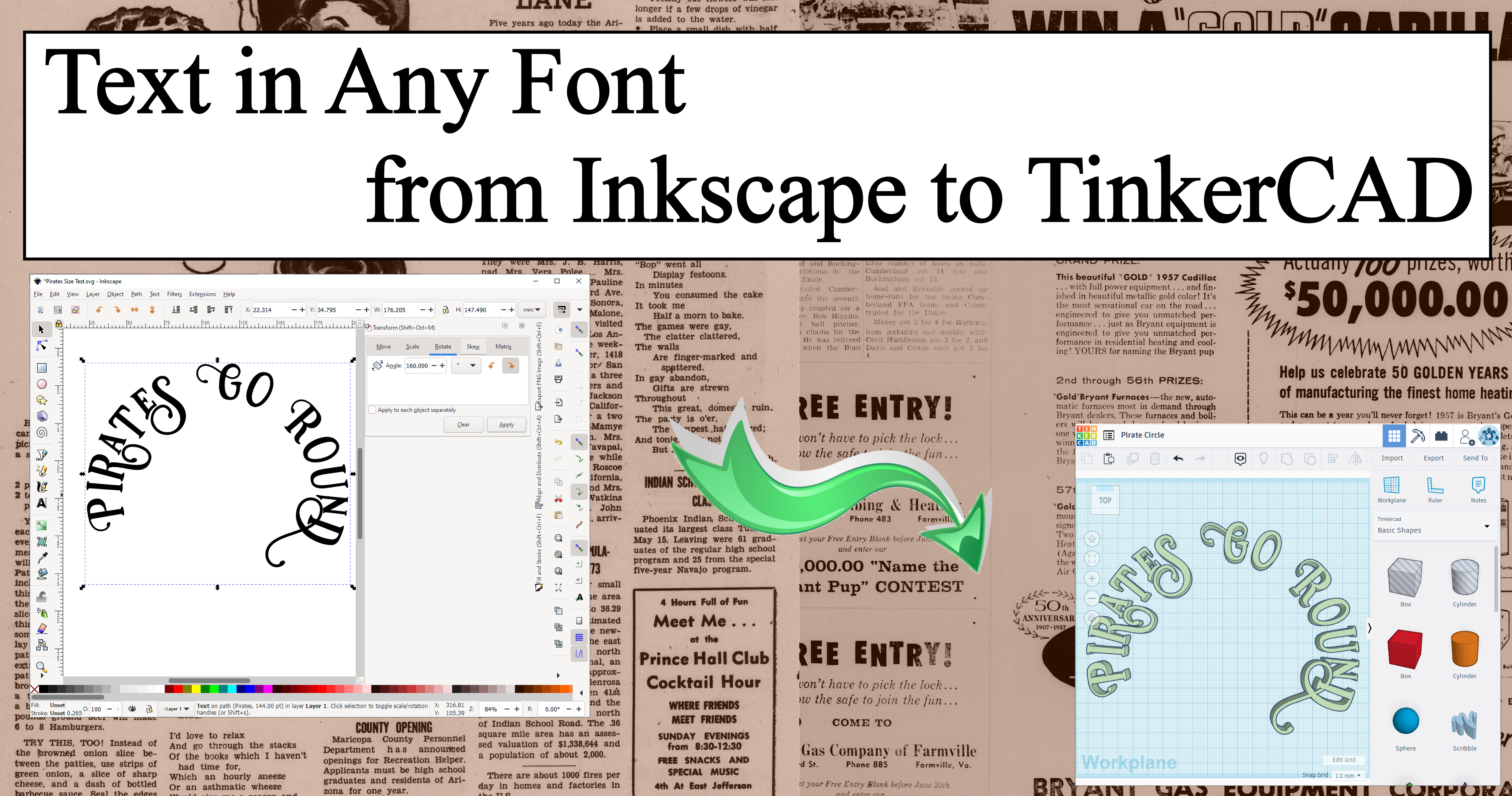 Text in Any Font from Inkscape to TinkerCAD