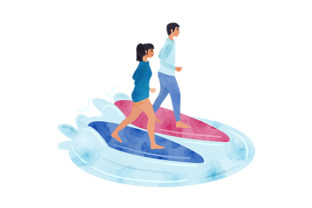Surfing Couple Watercolor Hobbies Craft Cut File By Creative Fabrica Crafts