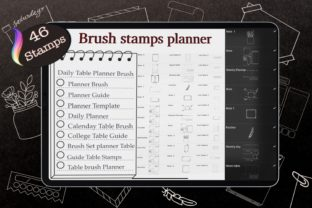 46 Planner Stamps, Brush Stamp Planner Graphic Brushes By Digital ideas Art