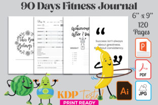 90 Days Fitness Weight Loss Journal Graphic KDP Interiors By GraphicTech360