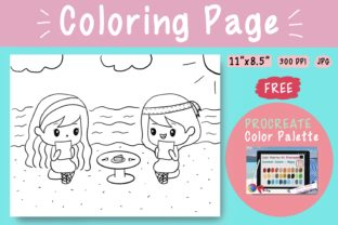 Coloring Page-2 Cute_Girls_Eat_Cake Graphic Coloring Pages & Books Kids By jennythip