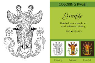 Coloring for Adult Tangled Giraffe Graphic Coloring Pages & Books Adults By Alinart