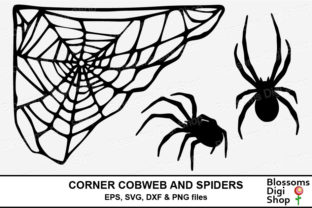 Print on Demand: Corner Cobweb and Spiders Graphic Crafts By BlossomsDigiShop