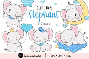 Cute Boy Elephant Clipart Graphic Illustrations By CatAndMe