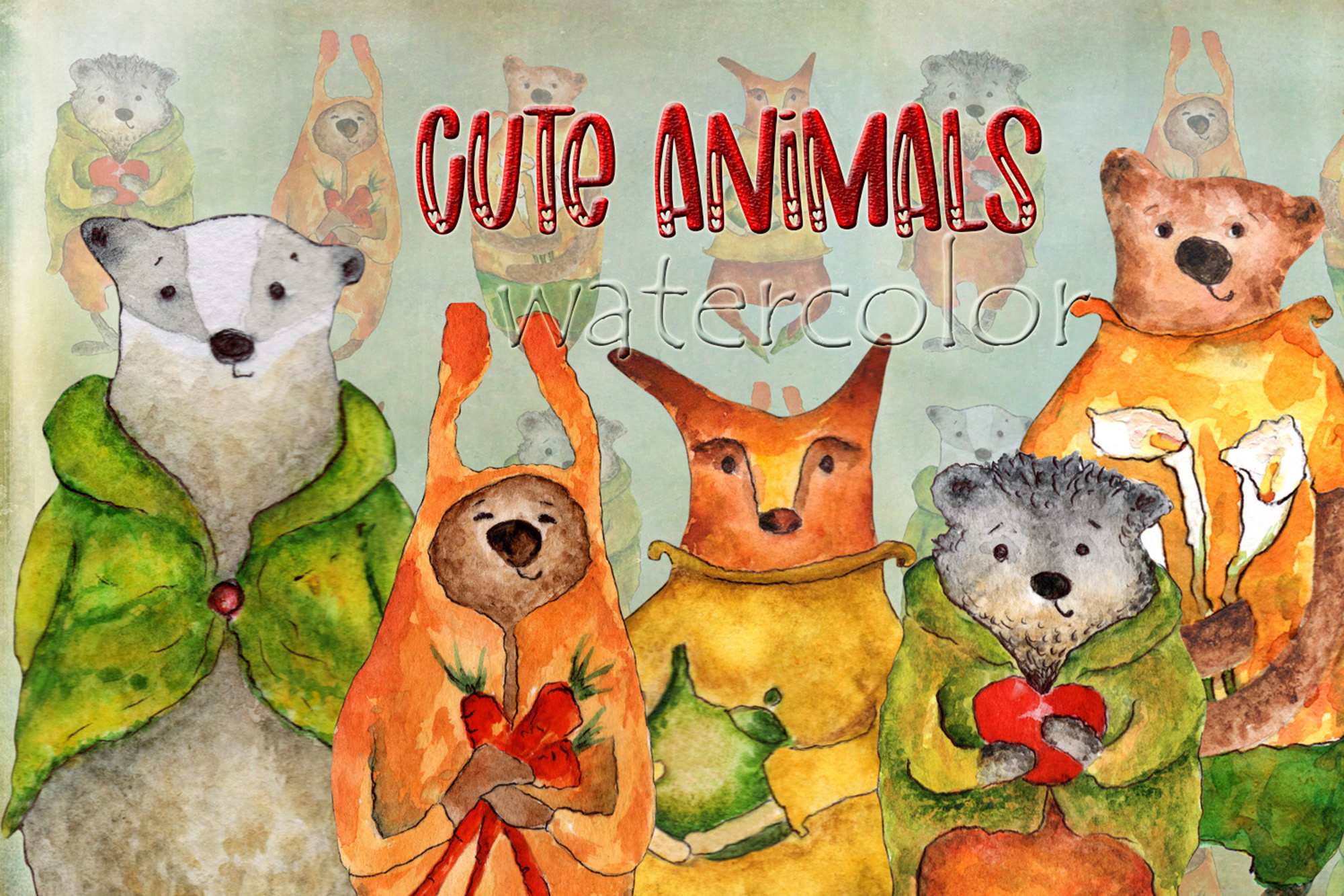 Cute Animals Watercolor Collection SVG File